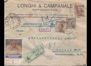 Italien: 1921: Einschreiben Milano nach Berlin: Fiera Campionaria