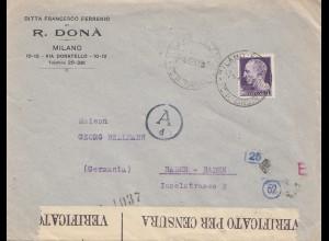 Italien: 1943: Milano nach Baden-Baden -Verificato/Zensur