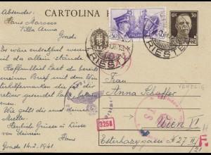 Italien: 1941. Cartolina Trieste nach Wien - OKW Zensur