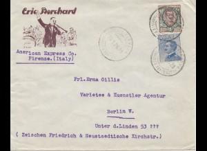 Italien: 1926: Firenze American Express nach Berlin: Varietee Künstler Agentur