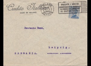 Italien: 1920: Credito Italiano Milano nach Leipzig - Perfin