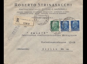 Italien: 1932: Einschreiben Verona nach Berlin