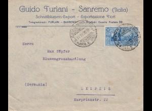 Italien: 1930: San Remo nach Leipzig: Blumen
