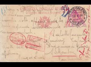 Italien: 1918 Sesto Calende nach Österreich: Rotes Kreuz