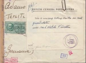 Italien: 1942: Bologna nach Teplitz Schonau- Ufficio Censura Posta Estera