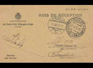 Italien: 1931: Avis des Reception: Wien-Sondrio