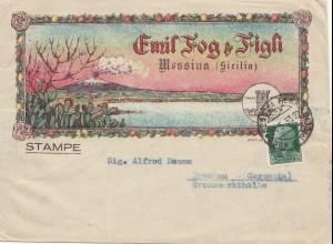 Italien: 1933: Messina/Sicilia nach Zwickau - Südfrüchte, Vulkan, Kaktuss