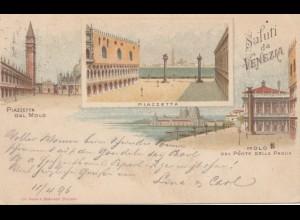 Italien: 1896: Ansichtskarte Saluti da Venezia