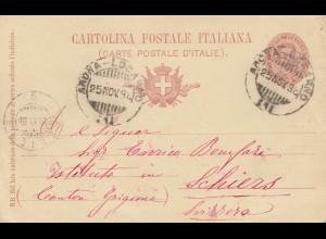 Italien: 1898 Locarno nach Schliers, Ganzsache
