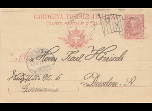 Italien: 1907: Neapel nach Drseden - Ganzsache