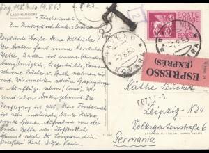 Italien: 1963: Ansichtskarte Lao Maggiore - Espresso - nach Leipzig