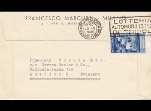 Italien: 1938: Milano nach Zürich: Lotteria Automobilistica Tripolis