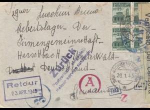 Italien: 1945: Januar: Mantova an Arbeitslager/Zensur: Postverkehr eingestellt