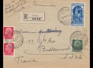Italien: 1934: Roma asl Einschreiben nach Frankreich