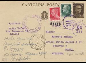 Italien: 1942: Ganzsache Milano nach Bern - 5x Zensur