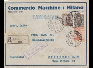 Italien: 1922: Einscheiben Milano nach Dresden - Freigegeben München