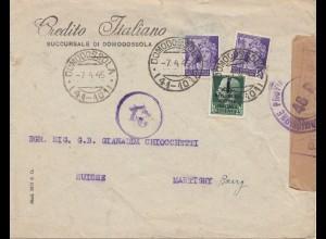 Italien: 1945: April: Domodossola in die Schweiz - Zensur