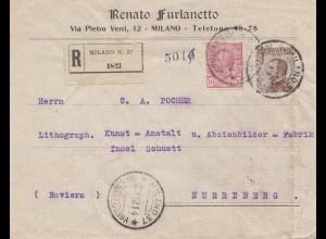 Italien: 1914: Milano als Einschreiben nach Nürnberg