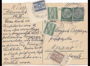 Italien: 1938: DR Ganzsache Trostberg nach Merano - TAXE