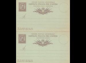 Italien: P11 - Ganzsache Cartolina Italiana per L' Estero: Doppelkarte