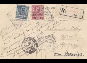 Italien: Ansichtskarte 1906 Napoli als Einschreiben nach Diputi Ethiopia
