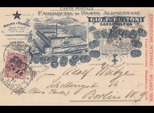 Italien: 1907: Sansepolcro nach Berlin: Fabriche di Paste Alimentari - Farine