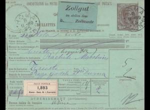 Italien: 1889: Paco Postale: Rome Succ. N1, Roma nach Trieste-Zollgut