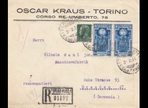 Italien: 1934: Torino nach Dresden - Einschreiben