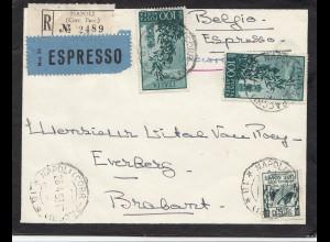 Italien: 1953 Napoli nach Belgien - Eilpost