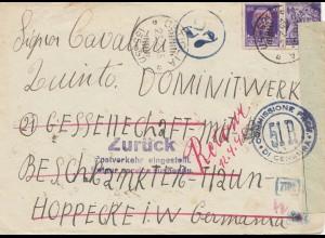 Italien: 1945. Modena nach Deutschland: Postverkehr eingestellt; Zensur