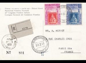 Italien: 1951: Einschreiben Firenze nach Paris