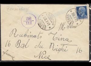 Italien: 1941: Varese nach Nice - Zensur