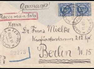 Italien: 1929: Napoli Raccomandata nach Berlin