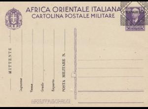 Italien: Ganzsache F22 Africa Orientale Italiana-Postale Militare
