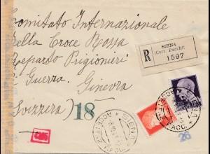 Italien: 1943: Siena - Einschreiben nach Genf- Zensur OKW