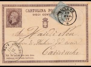 Italien: 1877: Cartolina Varese nach Karlsruhe