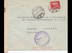 Italien: à la Comité Croix Rouge 1945 - Schweiz - Zensur