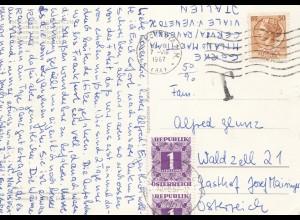 Italien: 1967: Ansichtskarte Milano nach Österreich, Taxe