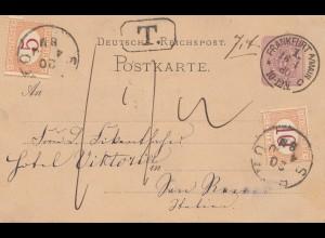 Italien: 1880: Ganzsach Frankfurt nach Italien - Taxe