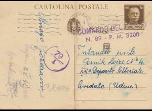 Italien: 1942 Ganzsache Zensur nach Udine