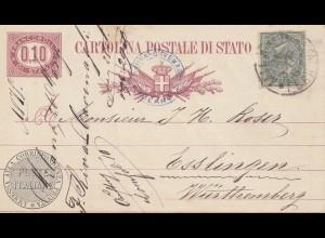 Italien: 1878: Cartolina Postale die Stato nach Esslingen