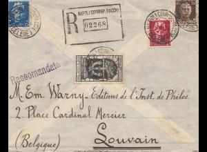 Italien:1934: Einschreiben Napoli nach Souvain/Belgien