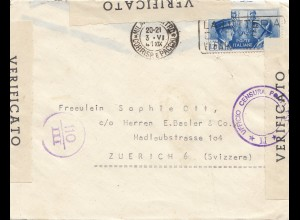 Italien: 1941: Milano nach Zürich - Zensur