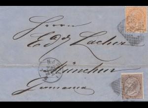Italien: 1872: Napoli nach München mit Textinhalt