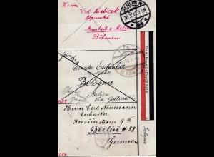 Italien: 1913: Dreibund Postkarte: Böhmen, Bologna, Berlin