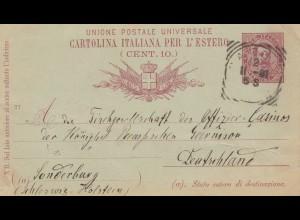 Italien: 1891: Ganzsache Cartolina italiana per L' estero nach Sonderburg: Alsen