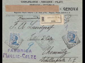 Italien: 1910: Genova nach Chemnitz