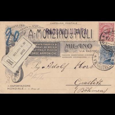 Italien: 1920: Milano Einschreiben nach Böhmen