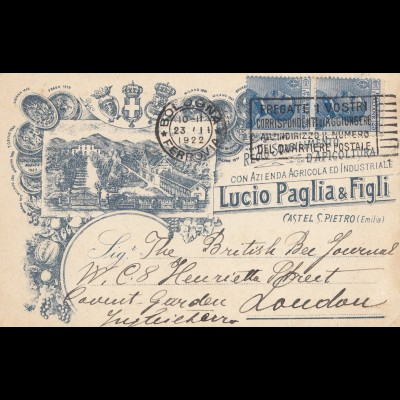 Italien: 1922: Bologna nach London