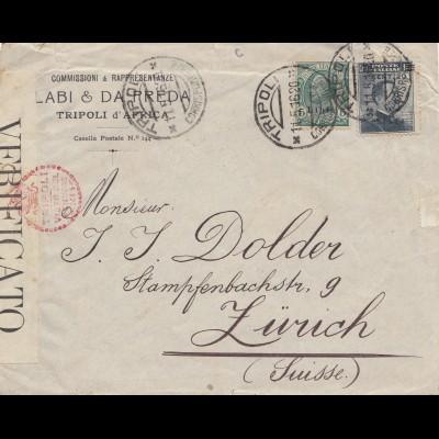 Italien: 1916: Tripoli nach Zürich / Schweiz - Zensur